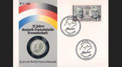 "AD88-NUM : 1988 - France-Allemagne FDC numismatique 2 Mark ""Adenauer"""
