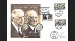 """DG88-NUM1 : 1988 - France-Allemagne Maxi-FDC 1 Franc """"de Gaulle"""" + 2 Mark """"Adenauer"""""""