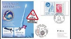 VA208L-T1 : 2012 FDC Kourou ARIANE 5 Vol 208 - Hylas-2 / Intelsat 20 - 50e succès d'affilée