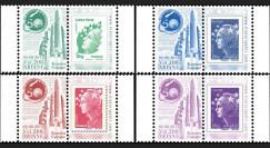 """VA208L-PT1/4 : 2012 - 5 Marianne sur porte-timbres """"Vol 208 Ariane - 50e succès d'affilée"""""""