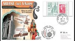 VA209L-T1 : 2012 - FDC Kourou ARIANE 5 Vol 209 - Astra 2F (Luxembourg) et GSAT-10 (Inde)
