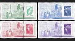"""VS04L-PT1/4 : 2012 - Série de 4 Marianne sur porte-timbres """"Vol N°4 Soyouz - Pléiades 1B"""""""