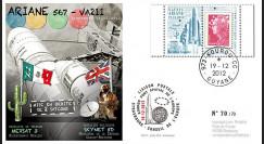VA211L-T1 : 2012 - FDC Kourou ARIANE 5 Vol 211 - Mexsat 3 (Mexique) et Skynet-5D (GB)