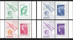 VA212L-PT1/4 : 2012 - 4 Marianne sur porte-timbres Vol 212 Ariane - Amazonas-3 (Espagne)
