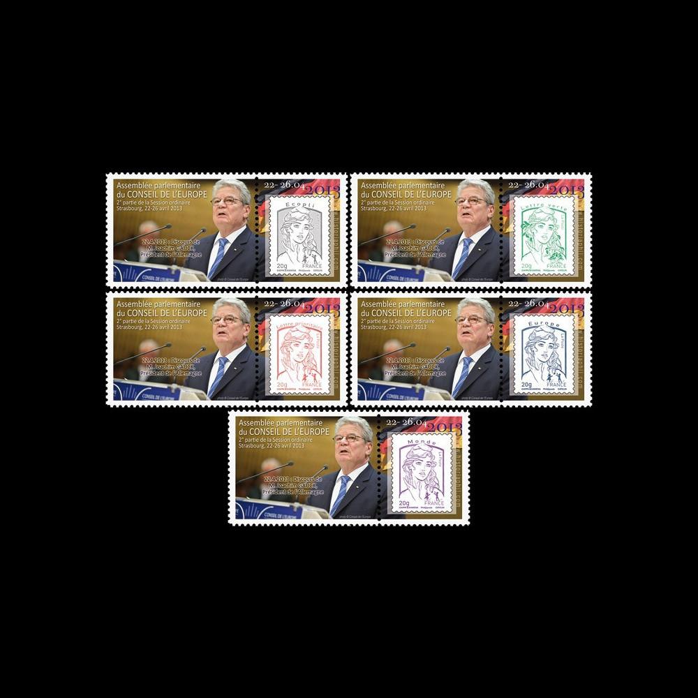 "CE64-IIA-PT1/5 : 2013 - 5 porte-timbre CE ""M. Joachim GAUCK"