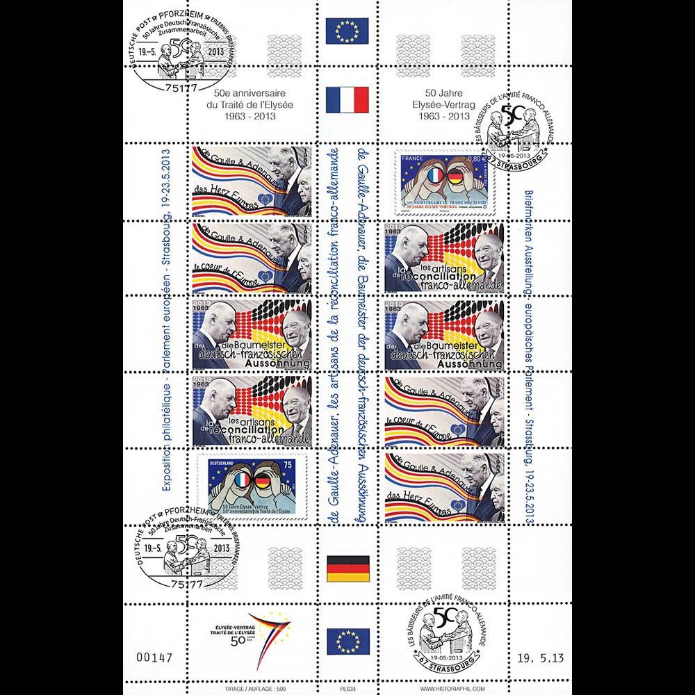 """PE639 : 2013 - Feuillet Parlement européen """"Traité Elysée - expo de Gaulle/Adenauer"""""""