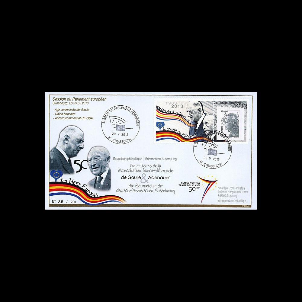 """PE640 : 2013 - FDC Session Parlement eur. """"de Gaulle / Adenauer - 50 ans Traité Elysée"""""""