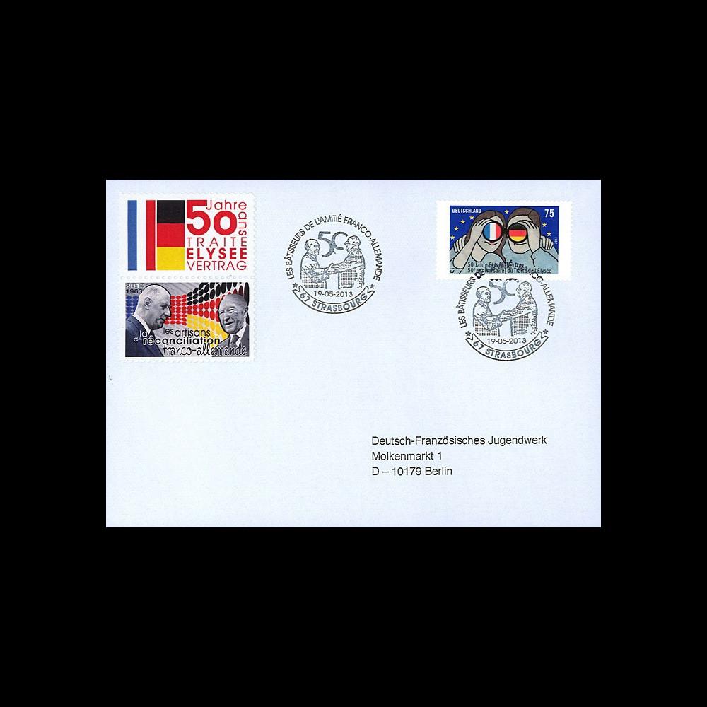 """PE638V1 : 2013 - FDC VARIETE FRANCE - ALLEMAGNE """"DE GAULLE & ADENAUER - 50 ans Traité Elysée"""""""