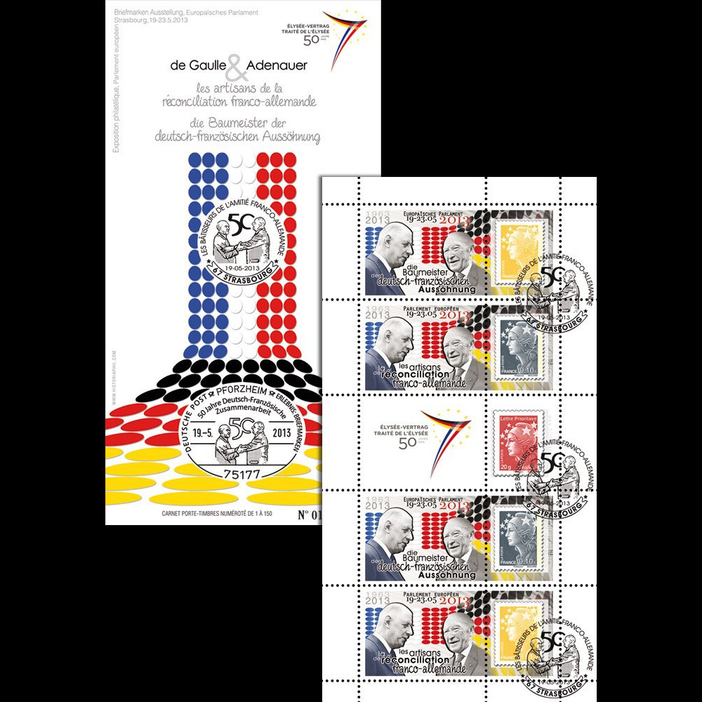 """PE646C : 2013 - Carnet porte-timbres """"Exposition de Gaulle / Adenauer - Traité de l'Elysée"""""""