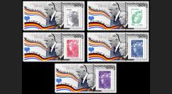 """PE643PT1/5 : 2013 - 5 porte-timbres """"Exposition de Gaulle / Adenauer - Traité de l'Elysée"""""""