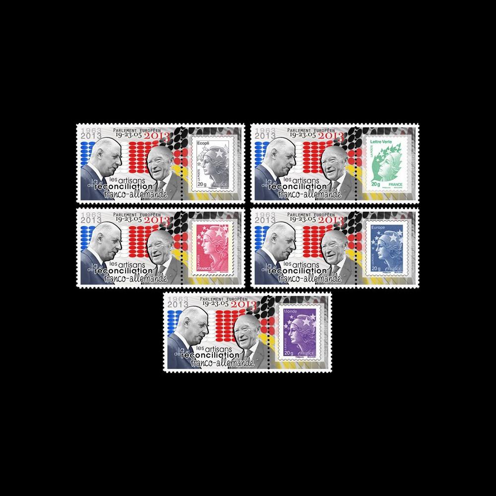 """PE644PT1/5 : 2013 - 5 porte-timbres """"Exposition de Gaulle / Adenauer - Traité de l'Elysée"""""""