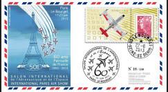 """PAF13-7 : 2013 - FDC """"60 ans Patrouille de France - Le Bourget / Avion REPUBLIC F 84G"""""""