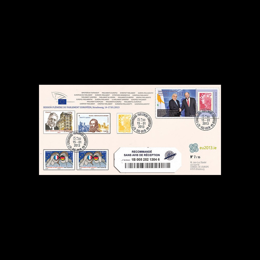 """PE627a : 2013 - Env. RECO Parlement européen """"M. CHRISTOFIAS"""