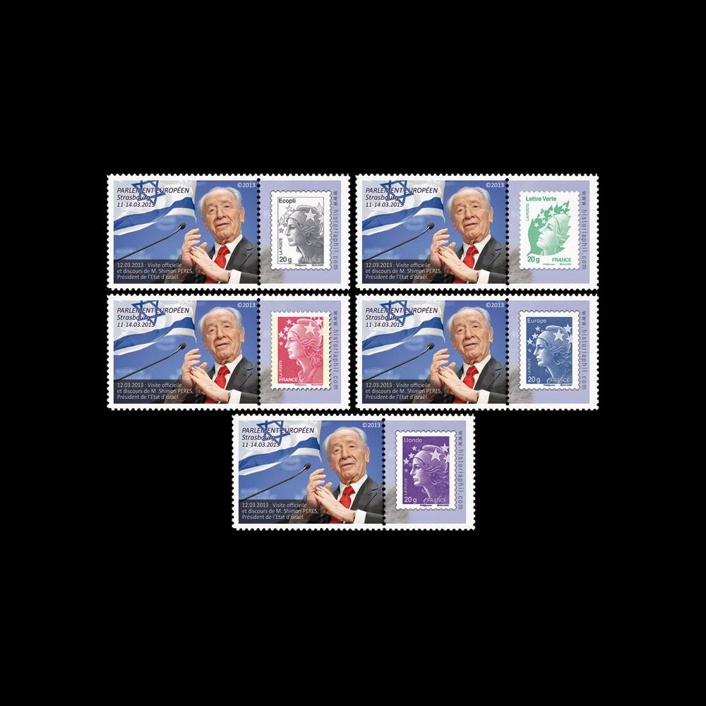 """PE635a-PT1-5 : 2013 - 5 porte-timbre Parlement européen """"M. Peres"""