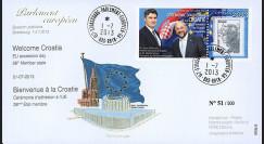 """PE649 : 07-2013 - FDC Parlement européen """"Adhésion de la Croatie à l'UE - M. MILANOVIC"""""""