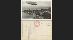 """LZ127-086 : 1930 - CP ALLEMAGNE """"LZ127 Graf Zeppelin survolant le Château de Friedrichshafen"""""""