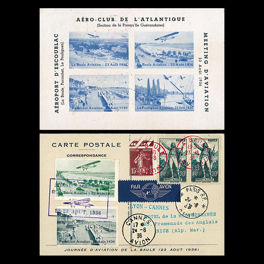 """AV-0153 : 1936 - CP """"Meeting Aviation Aéro-Club Atlantique : La Baule-Paris-Lyon-Cannes"""""""