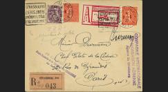 "AV-0105 : 1932 - Entier Postal RECO à bord ""Vol CIDNA Strasbourg - Paris"""