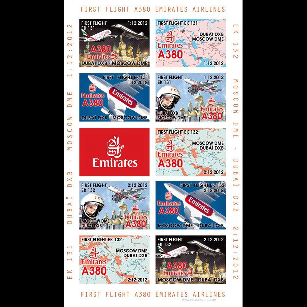 """A380-204FND : 2012 - Feuillet """"1er vol A380 Emirates EK131/2 Dubaï - Moscou - Dubaï"""""""