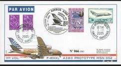 """A380-14T1 : 2005 - Pli France """"1er vol du prototype MSN 002 de l'A380"""" - TP Mystère 20"""