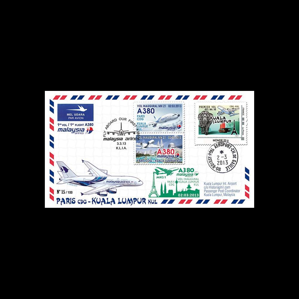 A380-216 : 2013 - FFC A380 Malaysia Airlines - 1er vol Paris CDG / Kuala Lumpur KUL
