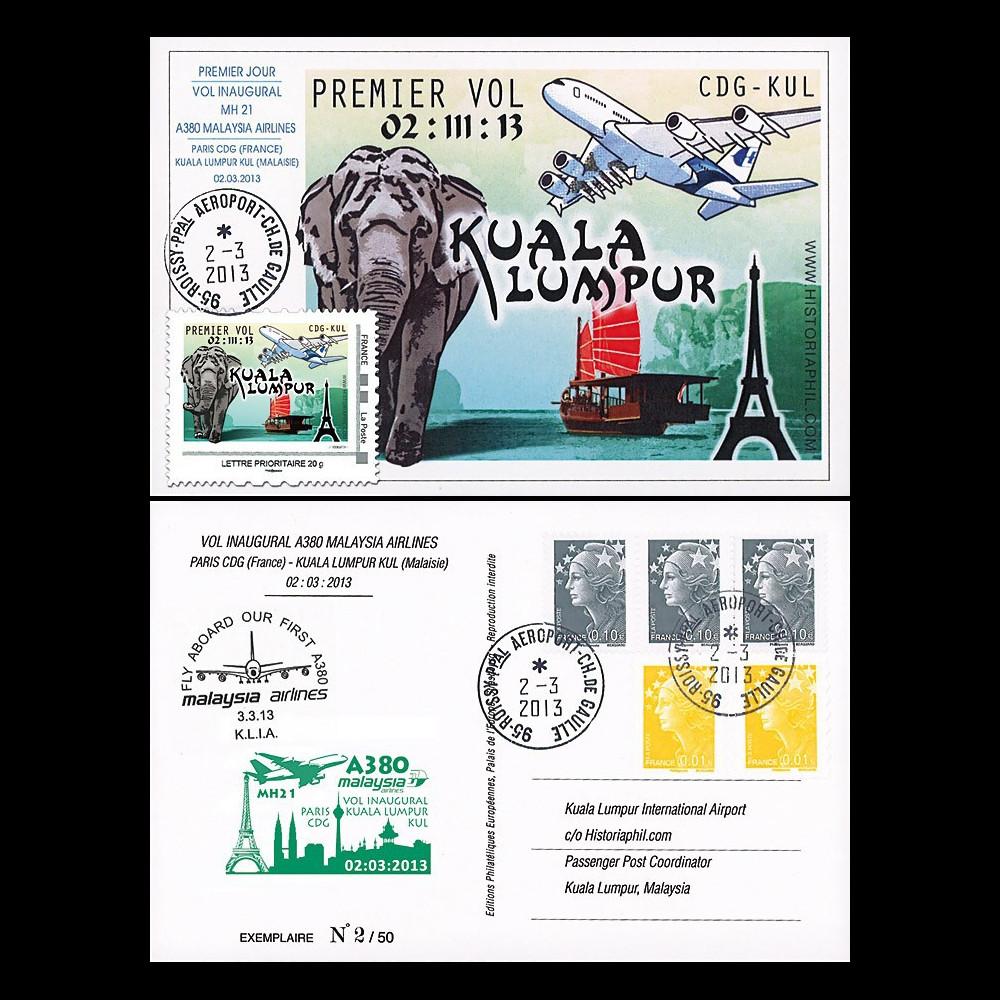 A380-215T1 : 2013 Carte maximum A380 Malaysia Airlines - 1er vol Paris / Kuala Lumpur