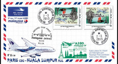 A380-216V : 2013 - FFC A380 Malaysia Airlines - 1er vol CDG - KUL / Variété tête-bêche