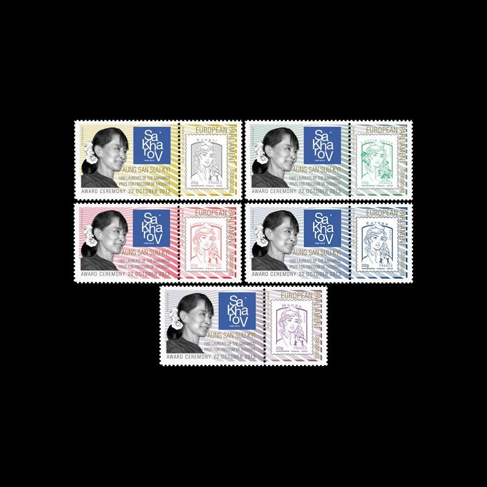 "PE652-PT1/5 : 2013 - 5 porte-timbre PE ""Prix Sakharov - Aung San Suu Kyi"