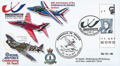 """PAF13-10T1 : 2013 - FDC ROYAUME-UNI """"RAF Waddington - 60 ans Patrouille de France"""""""