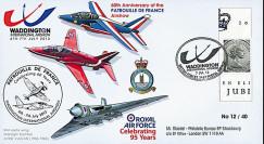 """PAF13-10T2 : 2013 - FDC ROYAUME-UNI """"RAF Waddington - 60 ans Patrouille de France"""""""