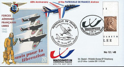 """PAF13-10T3 : 2013 - FDC ROYAUME-UNI """"RAF Waddington - 60 ans Patrouille de France"""""""