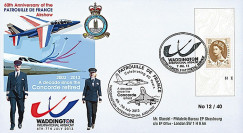 "PAF13-10T4 : 2013 - FDC ROYAUME-UNI ""RAF Waddington - 10 ans Retrait Avion CONCORDE"""