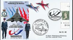 """PAF13-10T5 : 2013 - FDC ROYAUME-UNI """"RAF Waddington - 10 ans Retrait Avion CONCORDE"""""""