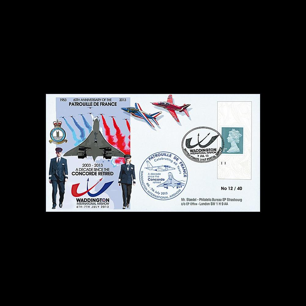 """PAF13-10T6 : 2013 - FDC ROYAUME-UNI """"RAF Waddington - 10 ans Retrait Avion CONCORDE"""""""