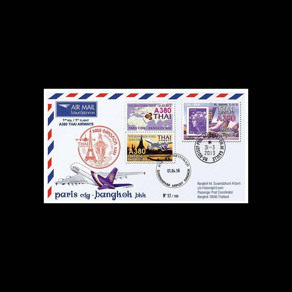 """A380-222 : 2013 - FFC FRANCE """"Airbus A380 Thai Airways - 1er Vol TG931 Paris-Bangkok"""""""