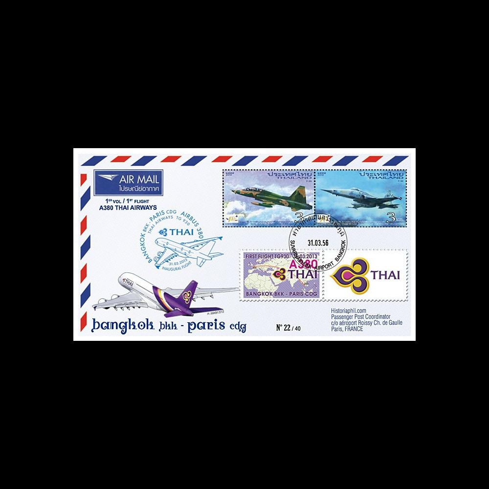 """A380-218T1 : 2013 - FFC THAÏLANDE """"Airbus A380 Thai Airways - 1er Vol Bangkok-Paris"""""""