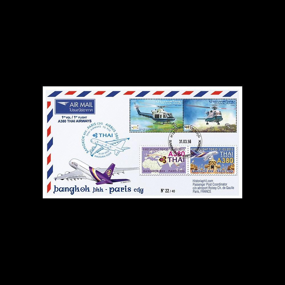 """A380-218T4 : 2013 - FFC THAÏLANDE """"Airbus A380 Thai Airways - 1er Vol Bangkok-Paris"""""""