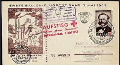 B1 : 1953 - Journée du Timbre - 1ers courriers par ballons libres