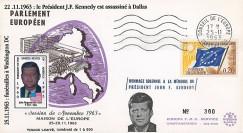 """AP38-T2 : 1963 - FDC Session du PE """"Hommage solennel au Président JF Kennedy USA"""""""
