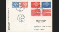 """F22 : FDC SUISSE 1er Jour voyagée """"Vol postal par ballon 'Zürich' - Europa Woche 1961"""""""