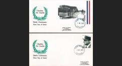 """DG91-DOM1/2L : 1991 - 2 FDC Commonwealth de Dominique """"Centenaire naiss. de Gaulle"""""""
