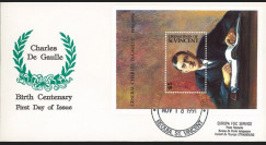 """DG91-GRN3L : 1991 - 1 FDC Grenadines (St. Vincent) """"Centenaire naiss. de Gaulle"""""""