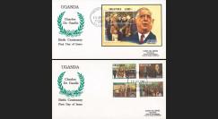 """DG91-UG1/2L : 1991 - 2 FDC Rép. d'Ouganda (Afrique) """"Centenaire naissance de Gaulle"""""""