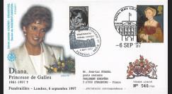 PE348SP1-T2 : 1997 - FDC Royaume-Uni 'Funérailles de Lady Diana'