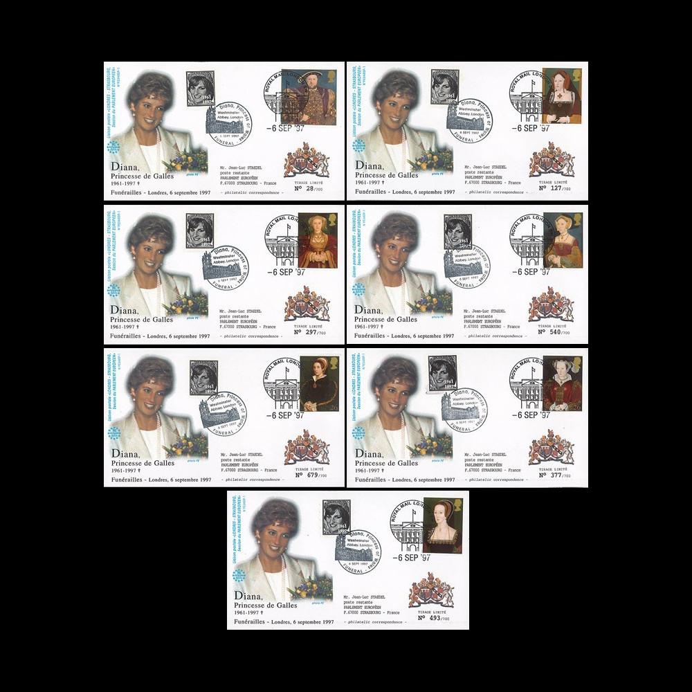 """PE348SP1-T1/7 : 1997 - Série des 7 FDC Royaume-Uni """"Funérailles de Lady Diana"""""""
