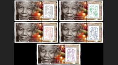 "PE654-PT1/5 : 2013 - 5 porte-timbre PE ""Hommage à Nelson MANDELA"