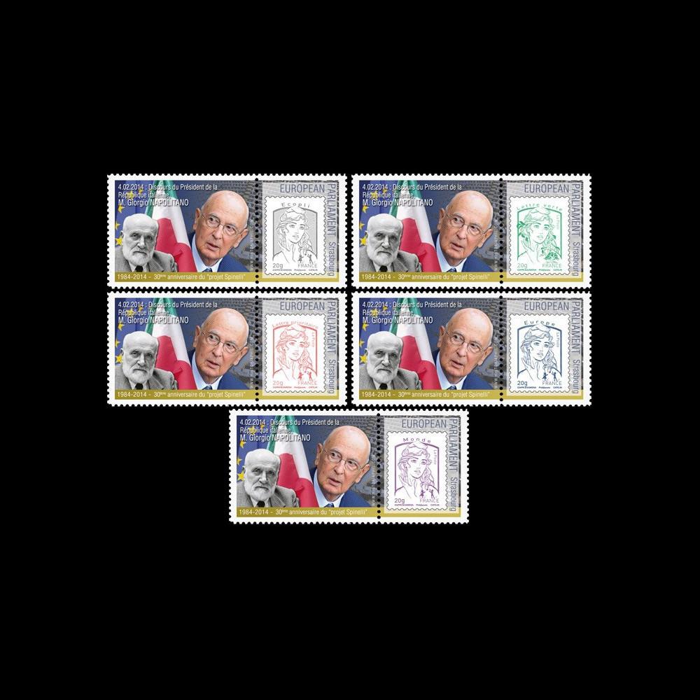 "PE656-PT1/5 : 2013 - 5 porte-timbre Parlement Eur. ""Visite M. Giorgio NAPOLITANO"