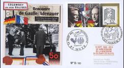 """DG13-8 : 2013 - FDC """"Exposition DE GAULLE & ADENAUER - 50 ans Traité Elysée"""" (Metz)"""