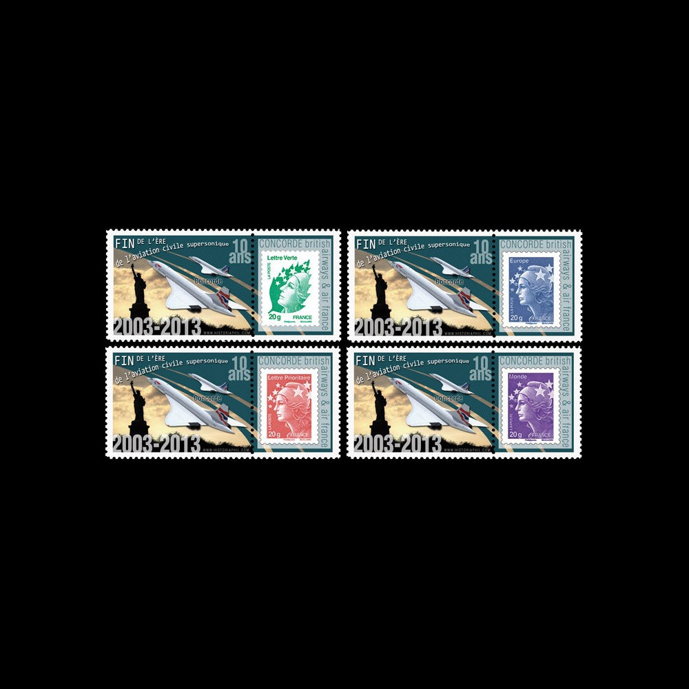 """CO-RET54PT1/4 : 2013 - Série 4 Marianne """"10 ans dernier vol Concorde / Statue Liberté"""""""