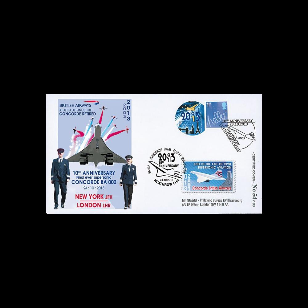 """CO-RET55 : 2013 - ROYAUME-UNI FFC """"10 ans dernier vol avion Concorde / Red Arrows"""""""